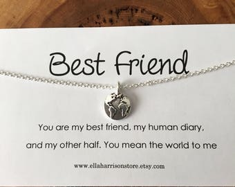 Gold or silver globe charm necklace; best friend charm, earth charm, gift for her, mother, friend, daughter