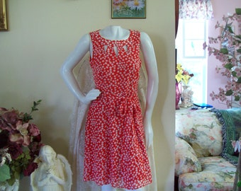 Coral Polka Dot Dress, Coral Summer Dress, Polka Dot Coral Dress w/Peek-A-Boo Bodice, sz 6