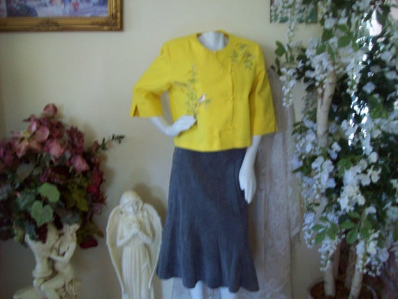 Lemon Yellow Jacket Gray Skirt Sparrow Jacket Chri