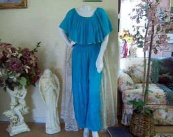 Teal Crinkle Jumpsuit, Teal Mexican Boho Jumpsuit, Mexican-Peasant-Gypsy Jumpsuit,  sz L to XL