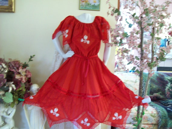 93d68a869eb0 Christmas Fiesta Dress Square Dance Dress Boho Dress Coral | Etsy