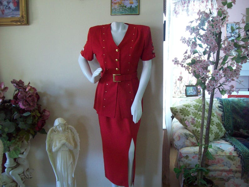 69d63f7facf0 Red Suit by Farouche Red Maxi Skirt Jacket Holiday Red Suit