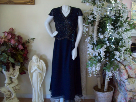 Navy Blue Beaded Evening Gown, Aurora Borealis For