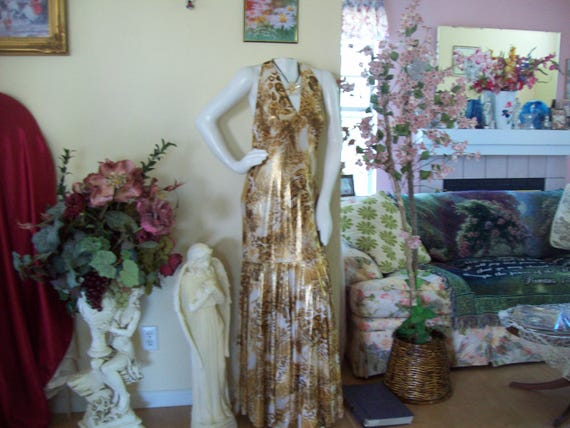 Vintage Gold Evening Gown Gold Halter Gown Golden