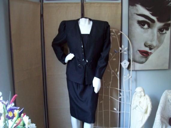 Vintage Karen Miller Suit 3-Piece Black Suit Black
