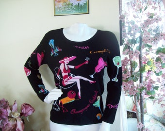"Party Sweater, Happy Hour Sweater, Dressy Black Champagne Sweater w/Lady in Champagne Glass -by ""Avvenire"", size Sm to Med."