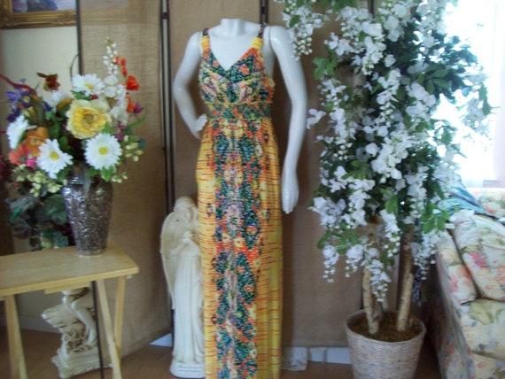 1990s Maxi Abstract Dress, Yellow-Orange Maxi Dres