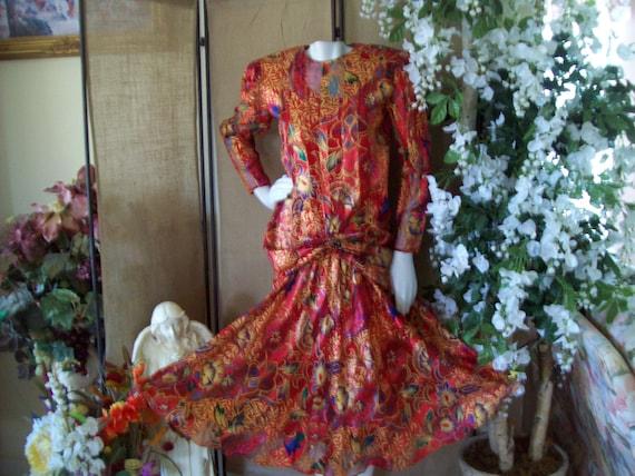 1980s Red-Gold Silk Dress The Silk Farm Dress Grea