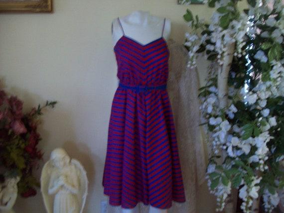 Vintage Sundress w/Jacket, Blue-Red Stripe Sundres