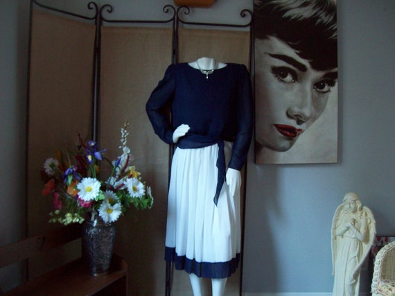 Navy White Abstract Print Skirt Top Matching Set  Vintage 1970s Hal Ferman