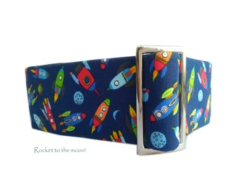 Martingale, martingale dog collar, spaceship & rockets martingale dog collar for greyhounds and whippets and all breeds