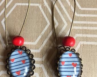 Earrings hearts marinières