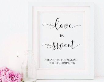 Love Is Sweet Sign - Love is Sweet Please Take A Treat - Wedding Favor Sign  - Engagement Favour Sign - Wedding Favor- Wedding Printable