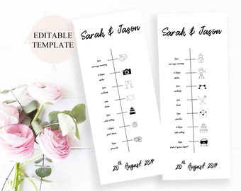 Wedding Timeline Printable Template Program Sign Itinerary Weekend