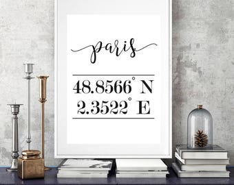 Paris Print, Paris Wall Art, Paris Coordinates Print, Paris Poster, Coordinates Home Print, Paris Map, Longitude Latitude Print, Housewarmin