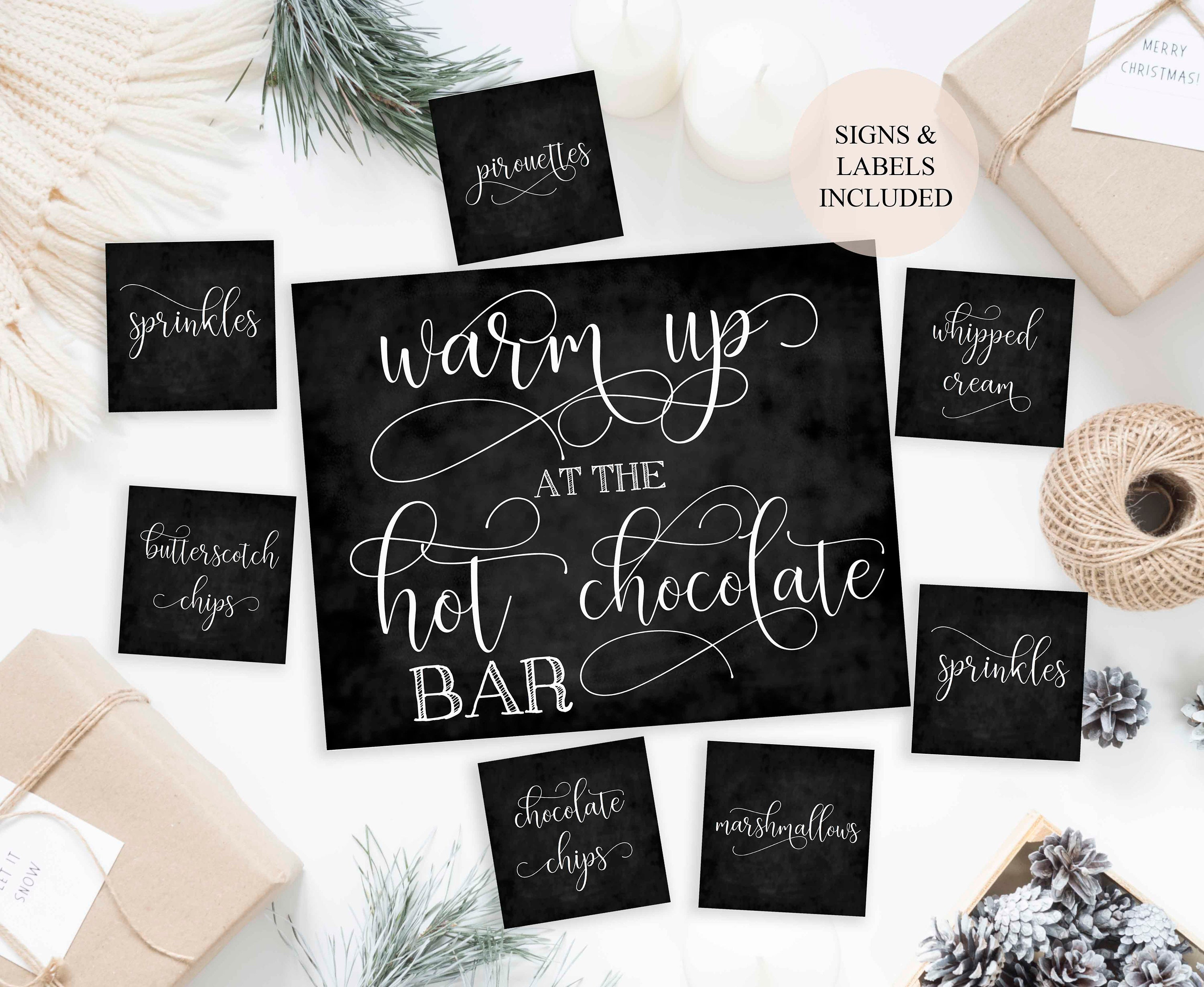 Hot chocolate bar printable labels to fancy of the hot chocolate bar