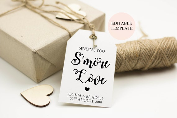 smore love tag smores tags template smores wedding favor etsy