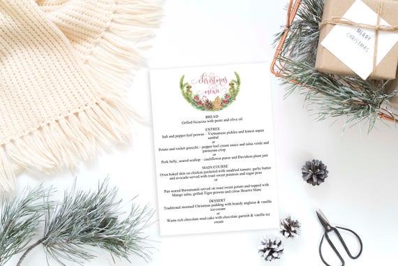 christmas menu template holiday place settings christmas etsy
