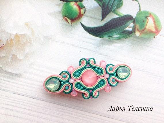 beige barrette soutache hair clip bride pink hair accessories hair soutache jewelry Sutache pink hair clip soutache pin pink  barrette