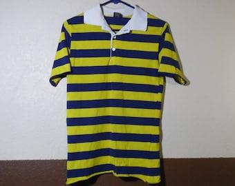 132a236f3c7 VTG Esprit Campus Striped Polo Yello Blue Shirt USA Made Medium Skate Surf  Skater Surfer