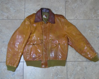 64ff2add7 Vtg leather bomber   Etsy
