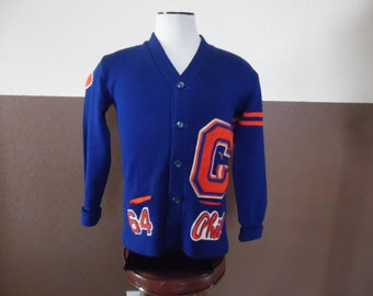 e4909941f83e75 Vintage 1964 Kandel CHS High School Letterman Sweater Wool Blue Orange