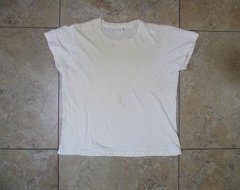 8e36b877 VTG 1970s Hanes Blank Plain White Tee T-Shirt USA Made Medium 38-40 Hipster  Minimalist