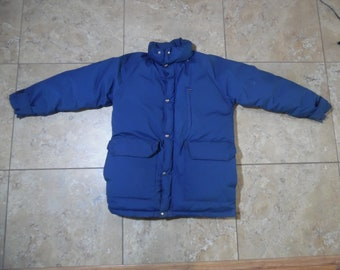 b55b924ffe VTG The North Face Down Puffer Blue Jacket Coat USA Made Small