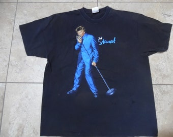 Vintage Rod Stewart T-Shirt Rock Band Concert Tee All Rod All Night Tour  Black Blue Sz XL 7436001058ac