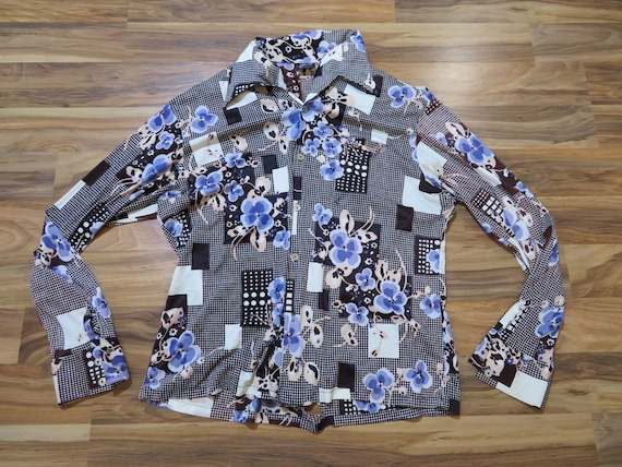 Vintage Joel Party Disco Polyester Abstract Flower