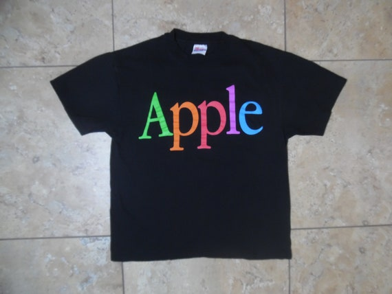VTG Apple Spellout Black T-Shirt USA Made Large 42