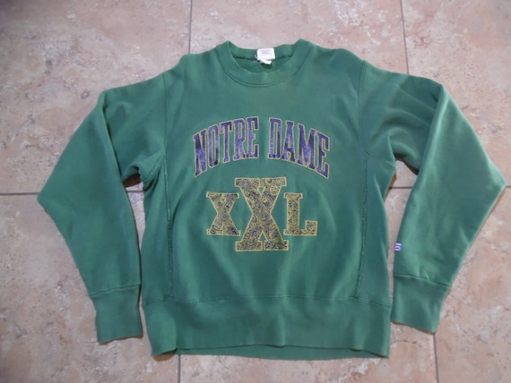 Vintage Notre Dame Green Sweatshirt with gussets S