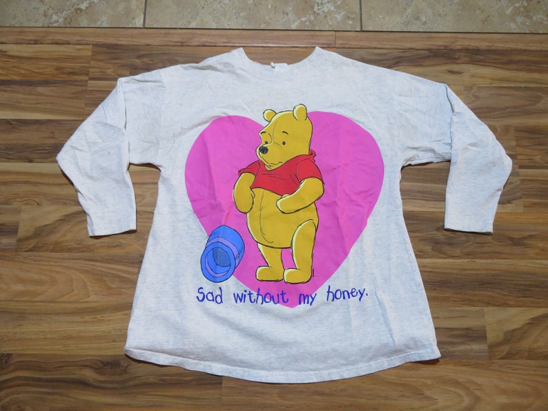 Vintage Winnie the Pooh Sad Without My Honey Gray Shirt sz S This could be worn as a Sleeper or regular shirt Pink Yellow