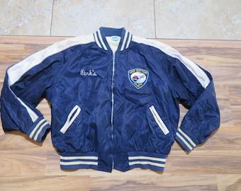 Vintage 1960s Ship Bottom Volunteer Fire Department Satin Jacket Maple Brand Sz L-XL New Jersey? blue White Fireman