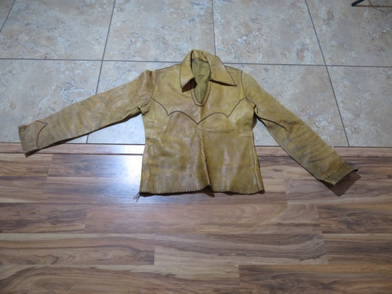 VTG Leather Pullover Smock Hippie Boho Biker Shirt