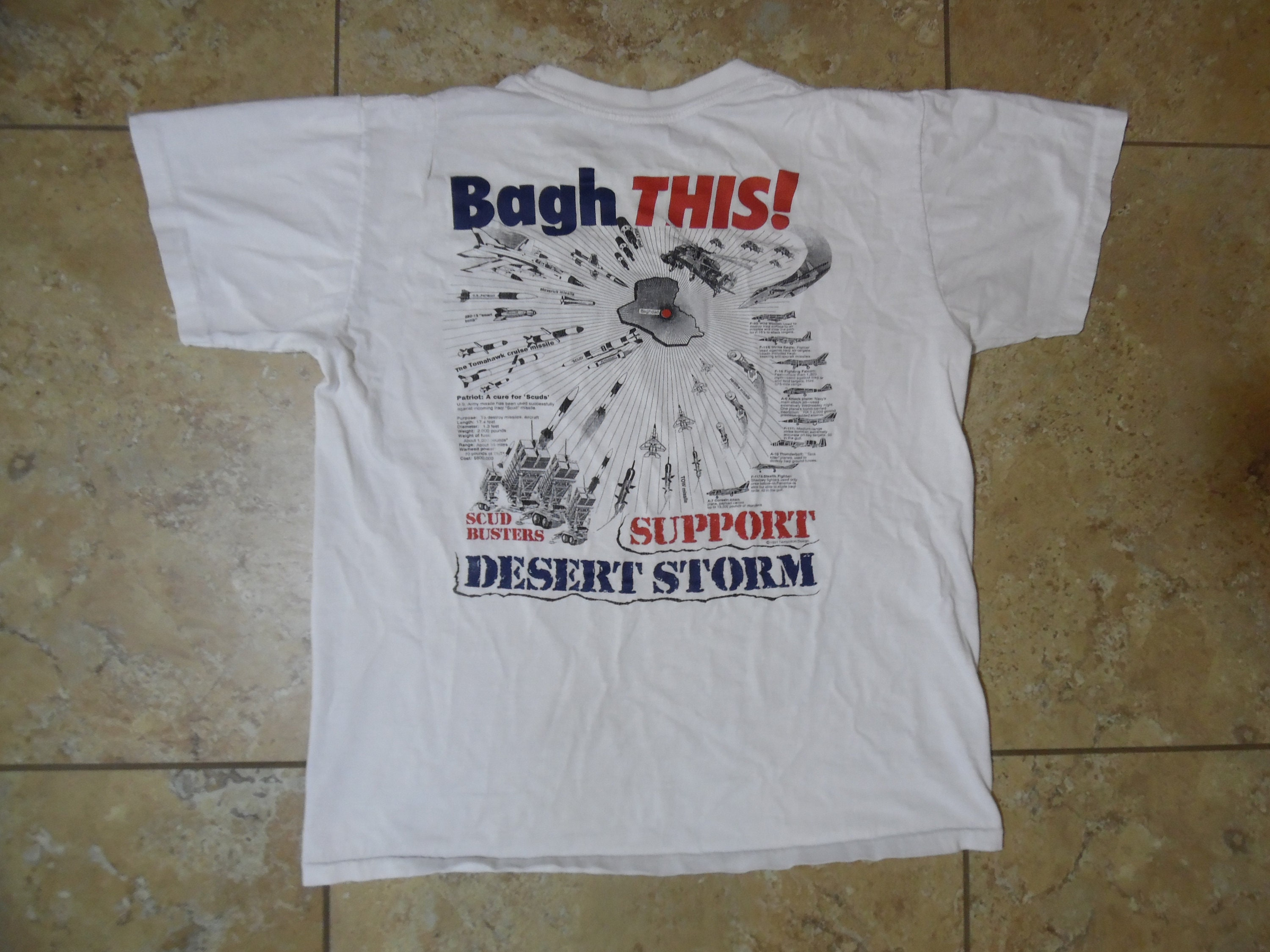 finest selection a26e5 7ab10 VTG Support Our Troops Desert Storm Double Sided White T-Shirt sz L  Streetwear