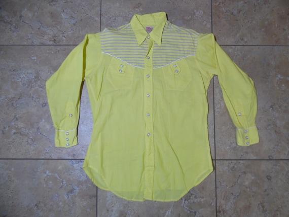 VTG Levi's Shorthorn Pearl Snap Western Yellow Shi