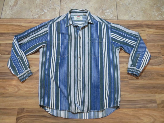 Vintage Levis Denim Striped Button Up Shirt Green