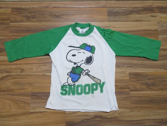 Vintage Kids Youth Snoopy Raglan BAseball Style Wh