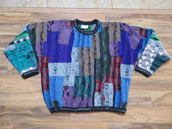 Vintage Coogi Knit Sweater Sz L Green Purple Blue