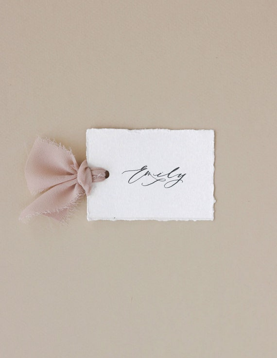 Smoke Coloured Tent Card Minimal Calligraphy Name Card Personalised Place Card Hand Lettered Place Card Classic Wedding Name Card