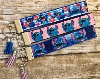Key Fob Chain Holder Wrist Lanyard Strap Disney Stitch Ohana Hawaii Love Aloha H