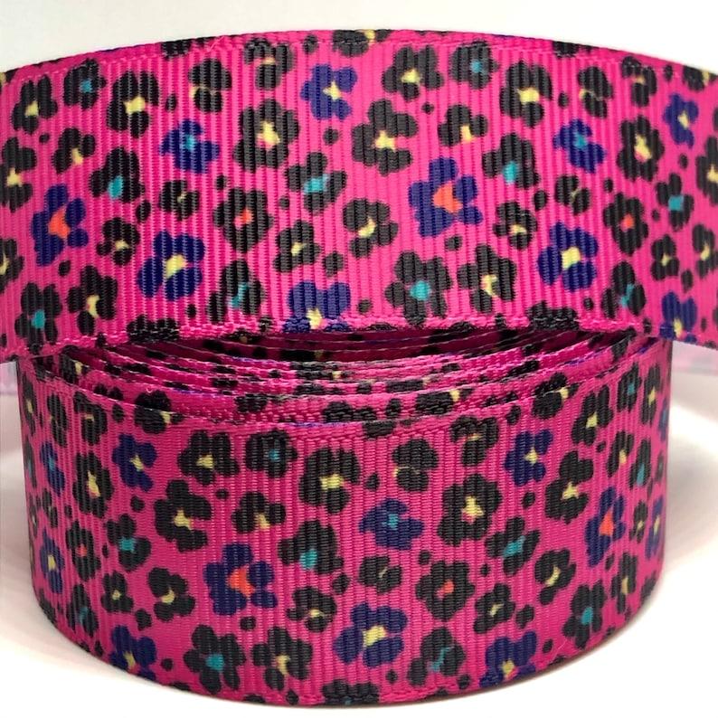 Grosgrain Ribbon 1\u201d Printed Ribbon AP3 Craft Supplies Hot Pink Cheetah Print Grosgrain Animal Print Ribbon Hairbow Supplies