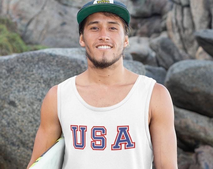 Featured listing image: Mens Tank Top - USA Shirt, Patriotic Shirt, 4th Of July Shirt, America Shirt, Merica, American Shirt, American Flag Shirt, Fourth Of July