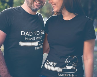 Pregnancy Announcement Couple T Shirts SET, Baby Loading, Dad To Be T-Shirts, Baby Shower Tees, Pregnancy Shirts, Expecting Shirts