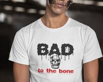 Bad to the Bone T Shirt Skull Halloween Punk T-Shirt Skeleton Party Costume Tee