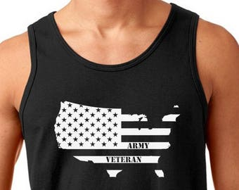 Men's Tank Top - NEw Army Veteran T-Shirt - NAVY - USAF - USMC Tee - Veterans Day - U.S. Military T Shirt - Holiday - Patriotic