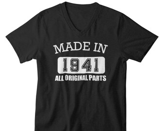 Men's V-neck - Made in 1941 All Original Parts T Shirt, 80th Birthday Gift For Men, 80th Birthday, 80th Birthday Decorations, Gift