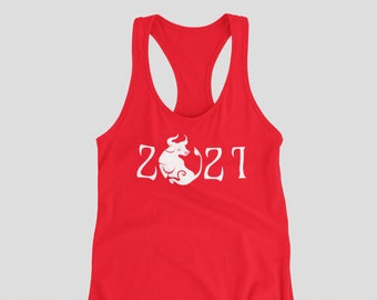 Ladies Tank Top Racerback - 2021 Year Of The Ox T Shirt Chinese Zodiac Tee Shirt Lunar Year Spring Festival
