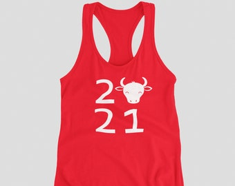 Ladies Tank Top Racerback - 2021 #2 Year Of The Ox T Shirt Chinese Zodiac Tee Shirt Lunar Year Spring Festival